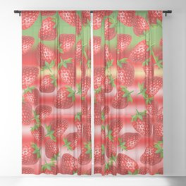 Strawberry Sublime Sheer Curtain