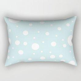 Mixed Polka Dots - White on Light Cyan Rectangular Pillow