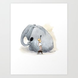 Brushing Elephant Art Print