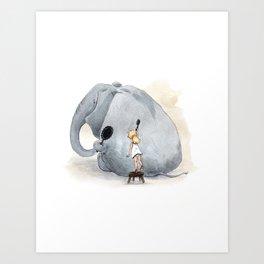 Brushing Elephant Art Print
