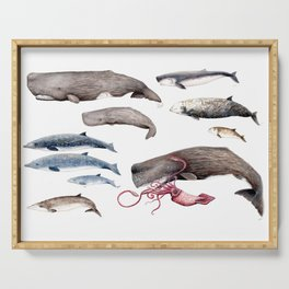 Deep sea whales Serving Tray