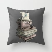 bookworm Throw Pillows featuring Bookworm by BlancaJP