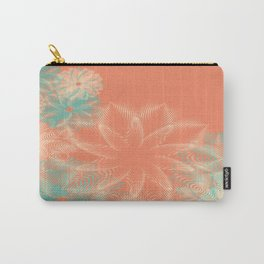 Abstract Floral in Teal and Coral Carry-All Pouch