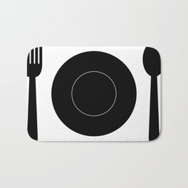 cutlery with plate Bath Mat