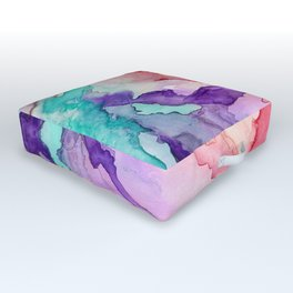 Color My World Watercolor Abstract Painting Outdoor Floor Cushion