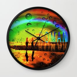 Romantic Sunset Reflections and Rainbow Wall Clock