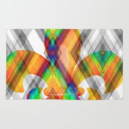 Fleur De Lis Diamond Pattern Rug