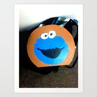 cookie monster Art Prints featuring cookie monster by smilingbug