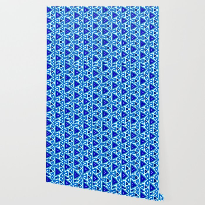 Bright blue Geometric Pattern Design Wallpaper