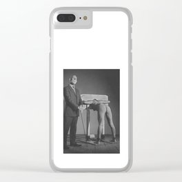 Pillory - Naked woman locked in a wooden pillory Clear iPhone Case