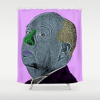 hitchcock Shower Curtains featuring Alfred Hitchcock by CultureCloth