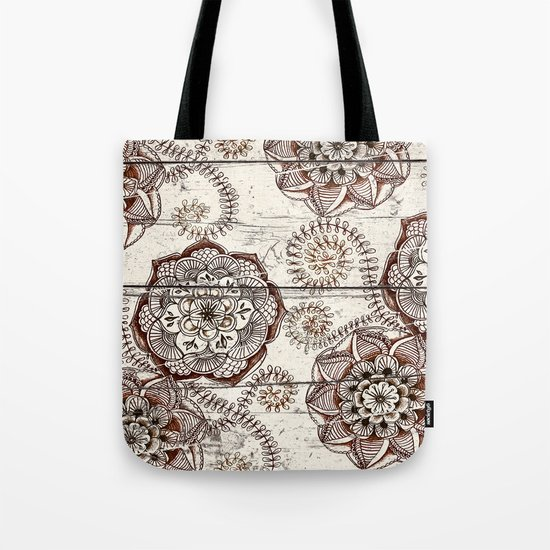 Coffee & Cocoa - brown & cream floral doodles on wood Tote Bag