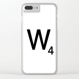 Letter W - Custom Scrabble Letter Tile Art - Scrabble W Initial Clear iPhone Case