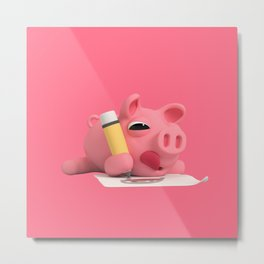Rosa the Pig Drawing Metal Print