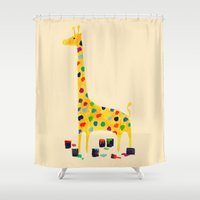 number Shower Curtains featuring Paint by number giraffe by Picomodi