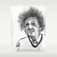 einstein Shower Curtains featuring Einstein by AlphaVariable