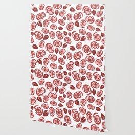 Deep Red Floral Pattern Wallpaper