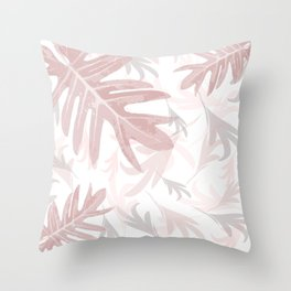 Trio Palm leaves, pink, palepink, white, tropical, pattern, society6 Throw Pillow