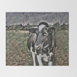 Melancholic Black White Dutch Cow Throw Blanket