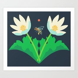 Honey Bee + Bloodroot Art Print