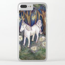 Unicorn with Fairies in the Enchanted Forest Art Clear iPhone Case
