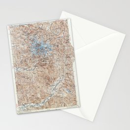 Vintage Mount Rainier Topographical Map Stationery Cards