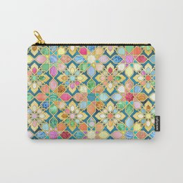 Gilded Moroccan Mosaic Tiles Carry-All Pouch