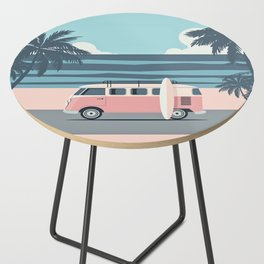 Surfer Graphic Beach Palm-Tree Camper-Van Art Side Table