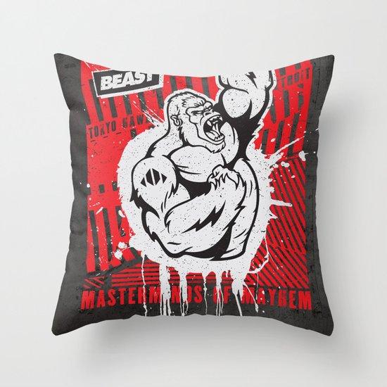 Mayhem Ape (Black on Red) Throw Pillow