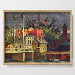 New England Town on the Two Rivers with Bridge landscape painting by Peter Blume Serving Tray