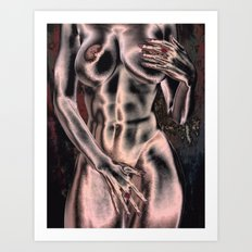 Abstract retro Nude Art Print