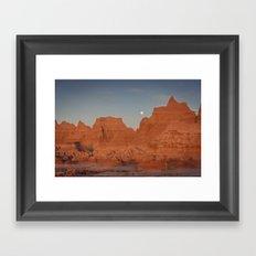 Moonsetting at Sunrise in the Badlands Framed Art Print