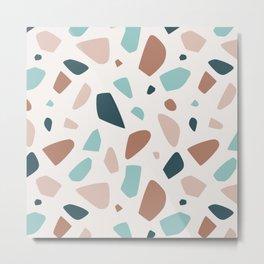Elegant blush terrazzo with mint and rusty spots Metal Print
