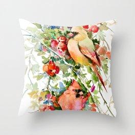 Cardinal Birds and Hawthorn, Cardinal Bird Christmas Design art floral bird decor Throw Pillow