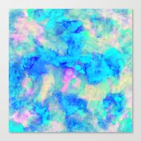 neon Canvas Prints featuring Electrify Ice Blue by Amy Sia