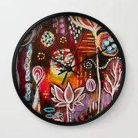 new year Wall Clocks featuring New Year by kristenheinlein