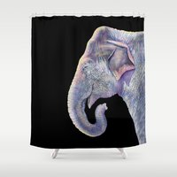 asian Shower Curtains featuring Asian Elephant by Tim Jeffs Art