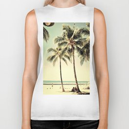 Retro Vintage Palm Tree with Hawaii Summer Sea Beach Biker Tank