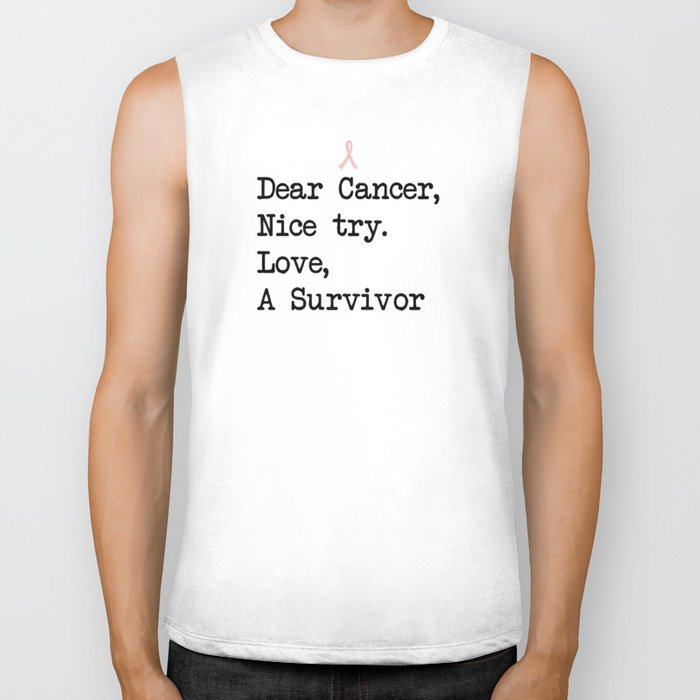 Nice Try, Cancer (Black Text) Biker Tank