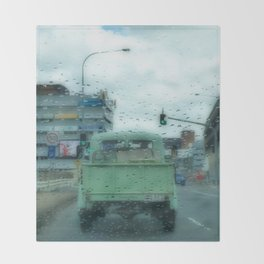 Rainy Days and Vintage Vehicles Throw Blanket