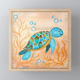 Sweet Baby Sea Turtle Framed Mini Art Print