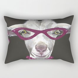 Goat Painting, Unique Farm Animal Rectangular Pillow