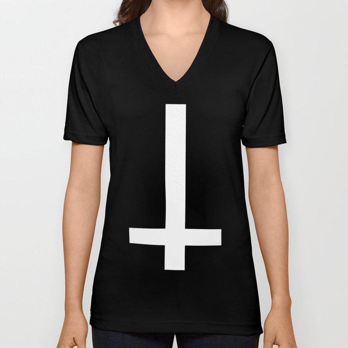 inverted cross gothic 666 satan devil crowley nwo illuminati black metal  illuminati t-shirts Unisex V-Neck by ivafiscus