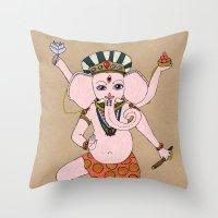 ganesha Throw Pillows featuring Ganesha by Erika Rier