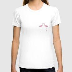 Pink Flamingo Womens Fitted Tee MEDIUM White