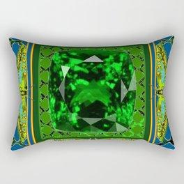 DECORATIVE  GREEN EMERALD GEM & BUTTERFLY ART DESIGN Rectangular Pillow