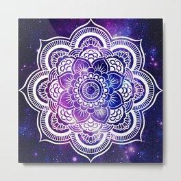 Mandala purple blue galaxy space Metal Print