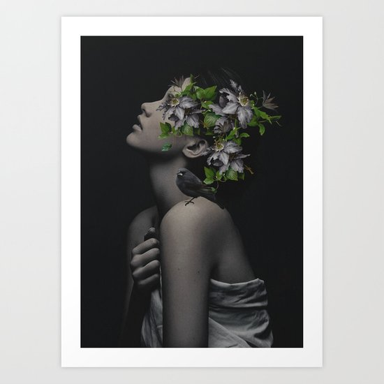 woman with flowers and birds 1 Art Print