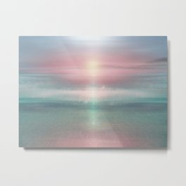 """Pink sky over blue sea Sunset"" Metal Print"