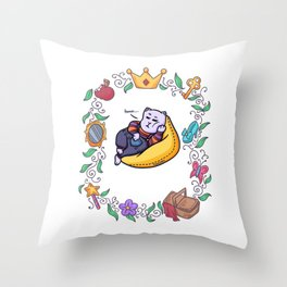 lazy cat chilling fairy tale Throw Pillow